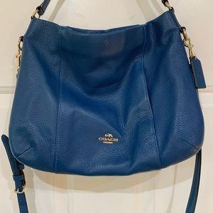 COACH Medium Crossbody Blue Pebbled Leather EUC